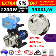 WEATHERISED 1200W Rain Water Tank Pump Stainless Steel Auto Pressure - Garden AU