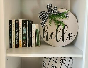 Farmhouse Style Home Decor Gray Hello Wood Circle Plate Sign Rustic Mantle