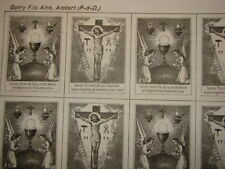 lot de 3 Scapulaire icone toile  XIXè STE PASSION   COEUR DE JESUS Vierge  Marie