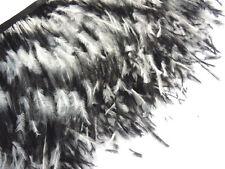 F130 PER 30cm-Black White Ostrich feather fringe Trim Brooch/Fascinator Material