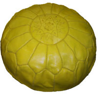 Pouf Moroccan Hassock Pooff Leather Genuine Ottoman Pouff Footstool LG Yellow