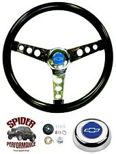 "1975-1994 Chevy pickup steering wheel BLUE BOWTIE GLOSSY GRIP 13 1/2"" Grant"