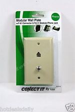 BELL PHONE ACCESSORIES ALMOND MODULAR TELEPHONE AND VIDEO JACK WALL PLATE