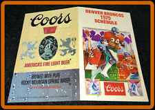 1979 DENVER BRONCOS COORS BEER FOOTBALL POCKET SCHEDULE FREE SHIPPING