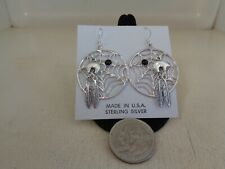 Super Dream catcher Ear Rings With Silver Bears .925 Sterling & Black Onyx Stone