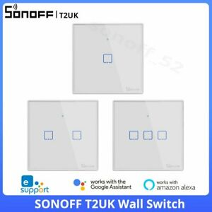 SONOFF T2UK Smart WIFI Wall Touch Light Switch 3 Gang Glass Panel Remote Control