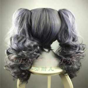 Blue grey melange girl Double ponytail curls cosplay wig unisex's breathable