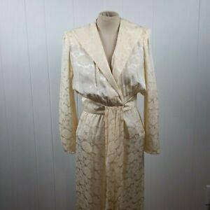 Vintage Guy Laroche Women's Size 8 Cream Colored Silk Floral Wrap Dress