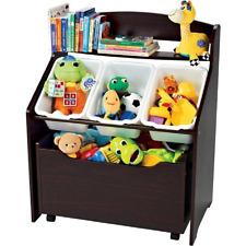 Wooden Toy Organizer Espresso Bookshelf Toys Bins Storage Kids Bedroom NEW