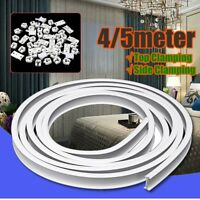 1/4/5m Plastic Bendable Curtain Track Rail Straight Bay Window Side Top Clampin