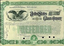 VINTAGE UNITED STATES GLASS COMPANY STOCK  CERTIFICATE