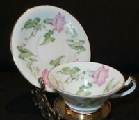 ANTIQUE HERTEL JACOB GERMANY PINK TULIPS & GOLD FOOTED DEMITASSE CUP & SAUCER