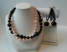 Jewelry Set Double Strand Necklace, Earrings, Bracelet Pink & Black Faux Pearl
