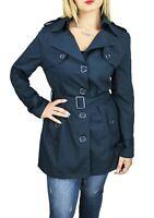 Giubbotto trench donna Diamond blu scuro elegante giacca lunga basic in cotone