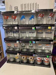 NFL Assorted Teams Set of 16oz Pint Glass Cup Mug Boelter Brands New