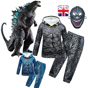 UK Godzilla Kids Pullover Hoodie Pants Set Boys Tracksuit Cosplay Costume Outfit