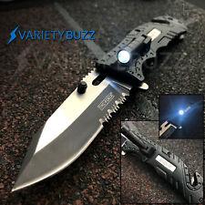 TAC-FORCE Black SHERIFF Spring Assisted Open LED Tactical Rescue Pocket Knife