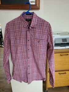 Oxford Mens BUtton Up Shirt S Slim Fit RED Check Long Sleeve Collared