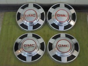 "73-87 GMC 3/4 1 Ton Dog Dish HUBCAPS 12"" Set of 4 Pickup Truck 16 16.5"" C25 C35"