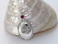 925 Sterling Silver 4 mm Lab  Ruby Locket H2O Mermaids Pendant Engraved Name