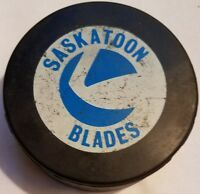 Saskatoon Blades  vintage VICEROY WHL logo Hockey Puck made in canada