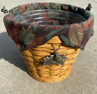 LONGABERGER 2002 AUTUMN PAIL BASKET With Falling Leaves Liner Acorn Accent Fall