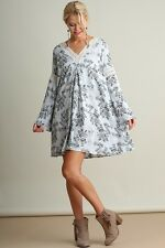 UMGEE SKY Floral V-Neck Crochet Lace Detail Neck and Sleeves Dress/Tunic XL BHCS