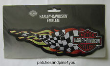 Harley Davidson Large 2XL Flaming Checked Banner Sew On Patch New! FREE UK P&P!