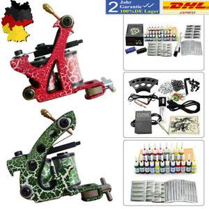 Complete Starter Tattoo Kit 2Gun Machine Power Supply Set 20Color Ink Needle DHL