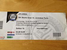 SK Sturm Graz v Juventus Match Ticket Uefa Europa League 19th August 2010
