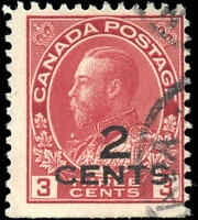 1926 Canada Used  2c on 3c F-VF Scott #140 KGV Admiral Provisional Stamp