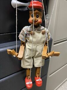 Vintage Wooden Pinocchio Marionette Puppet Doll with nose 16 inches Hand carved