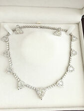 NATURAL DIAMOND NECKLACE EARRINGS triangles round TCW40.36 18k white gold bridal