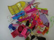 Lot of Random Barbie Accessories Shoe Bag, Boombox, Pink Hat, Skateboard, etc.