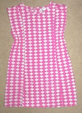 Euc Youth Girls Size 120 7 Years Hanna Andersson Pink White Scallop Print Dress