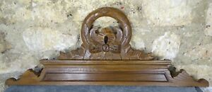 """32""""  Antique French Hand Carved Wood Solid Chesnut Pediment - Crown"""