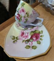 NANTUCKET HOME ♡  PORCELAIN TEA CUP AND DESSERT SAUCER ♡ ROSES AND GOLD RIM