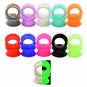 """Pair 8g-1"""" SILICONE EYELET TUNNELS Double Flare Gauges Thin Flesh Ear Plugs 25MM"""