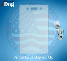 VERTICAL ID CARD BADGE HOLDER AND CLIP FOR SERVICE DOG ID CARD ADA