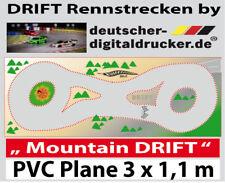 Mountain DRIFT Rennstrecke - RC Cars 1:43 - Robuste Plane 4 farbig- 3 x 1,10m