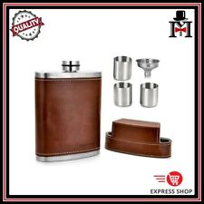 Brown Leather 8oz Hip Flask Alcohol Travel Camping Fishing Party Gift Bar Bucks