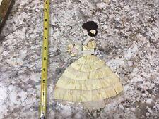 Vintage Antique Ribbon Girl Handmade Ribbon Real Hair Paper & Lace Trim