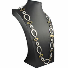 Unique silver and brass plated large quirky shape link long length necklace