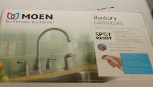 MOEN Banbury High-Arc 2-Handle Standard Kitchen Faucet with Side Sprayer