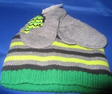 TODDLER BOYS KNIT NOLAN HAT & MITTENS 2 TO 4T, GREEN/GRAY NEW WITH TAGS