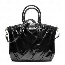 Coach Black Madison Diagonal Pleated Patent Leather Lindsey Bag F21299 $548 +Tax