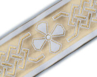 """Wide Jacquard Trim. Celtic Church  Gold on White. 3¾"""" wide 3 Yards Vestment"""