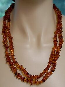Very Long Baltic Amber Natural Bead Necklace Nice Color 46 Inches