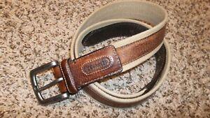 Columbia Tan Brown 2-tone Fabric Genuine Leather Golf Belt Men 42