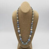 Vintage Estate Shades of Blue Gray Pearl And Blue Glass Bead Necklace No Clasp